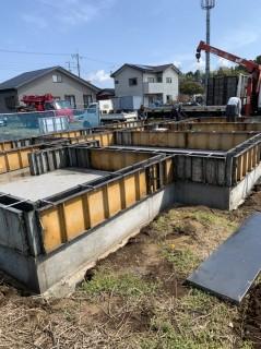 水戸市のテクノストラクチャーの家・基礎工事が進んでいます